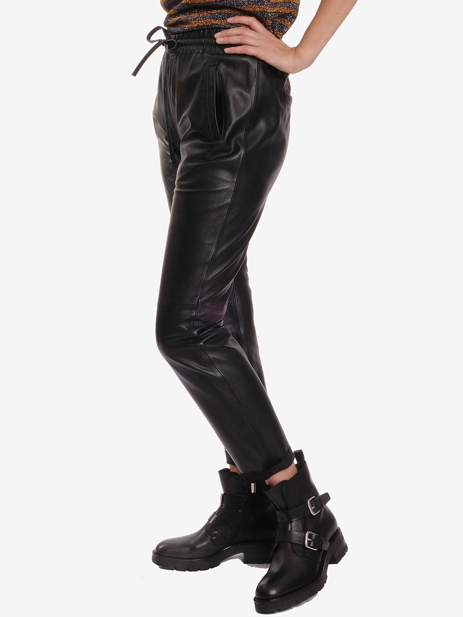 GIFT LEATHER JOGGERS - BLACK