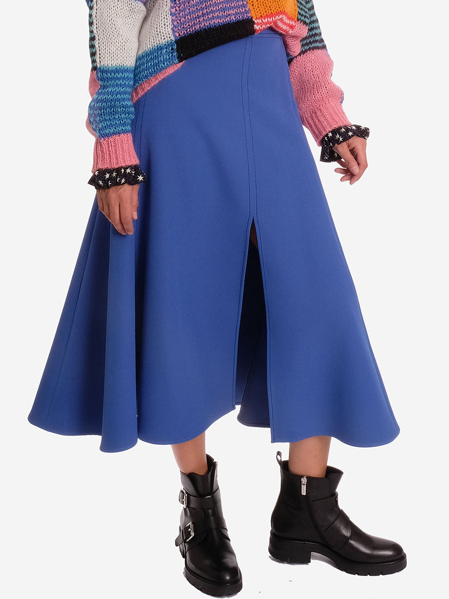 JADA SOLID COBALT BLUE MIDI SKIRT