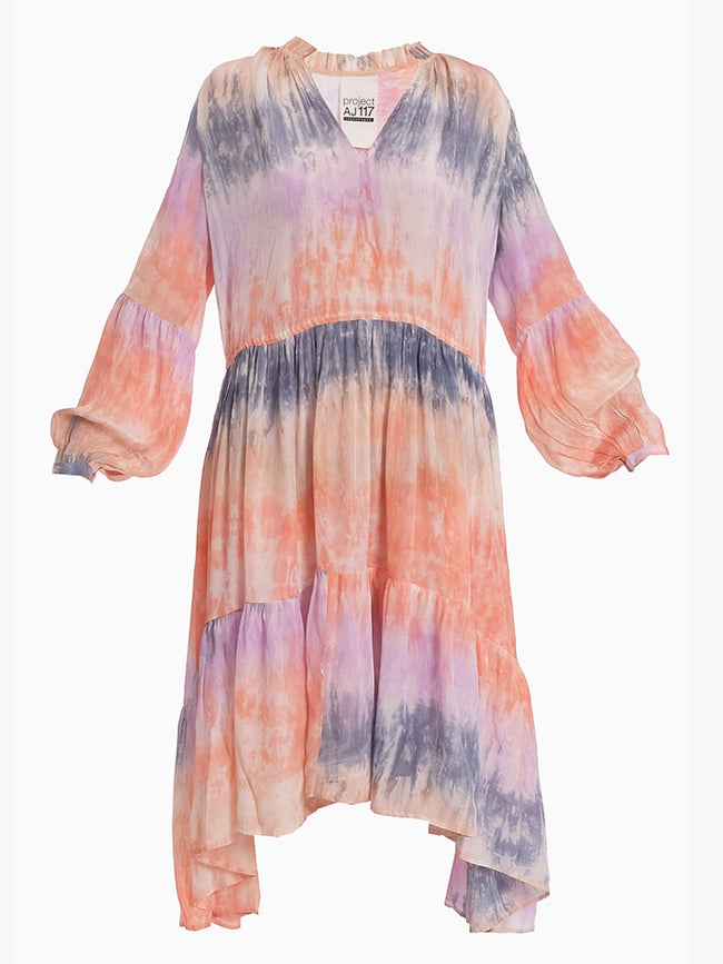 GAEL TIE DYE MIDI DRESS - PASTEL MULTI