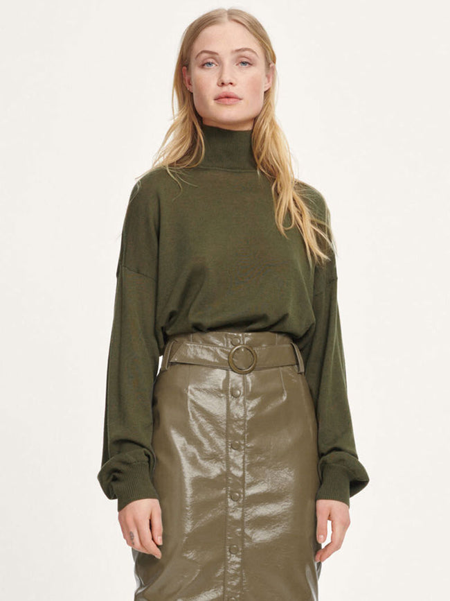 KLEO TURTLENECK JUMPER - DARK OLIVE