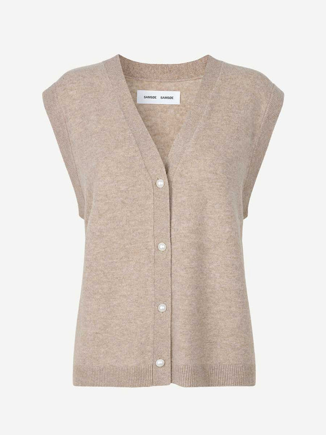 AMARIS CARDIGAN VEST - WARM GREY MEL