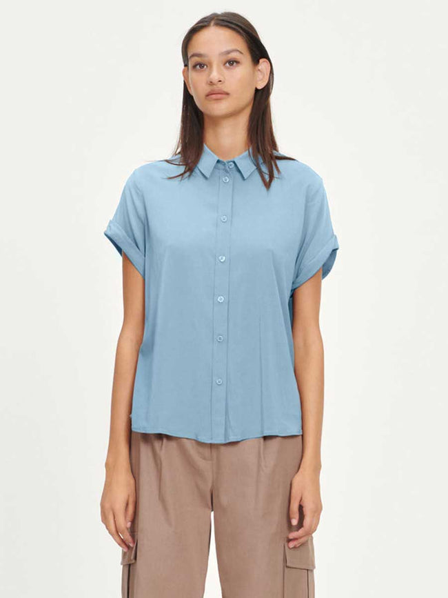 MAJAN SHORT SLEEVE SHIRT - DUSTY BLUE