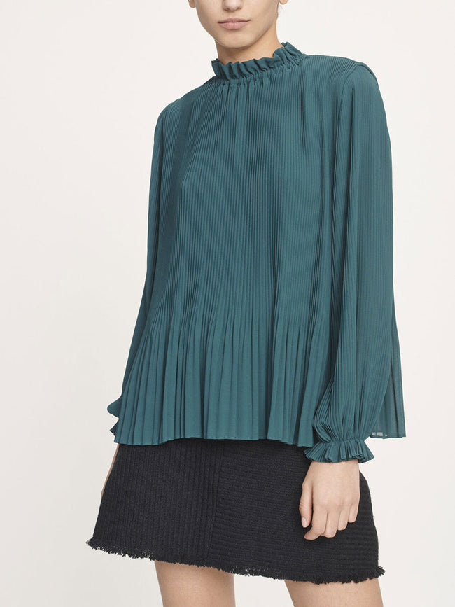 MINDY PLEAT BLOUSE - SEA MOSS