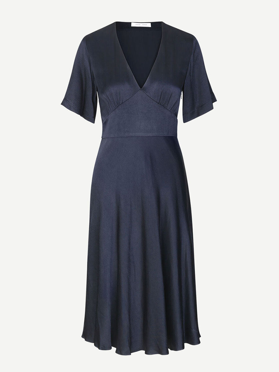 CINDY SATIN MIDI DRESS - NIGHT SKY