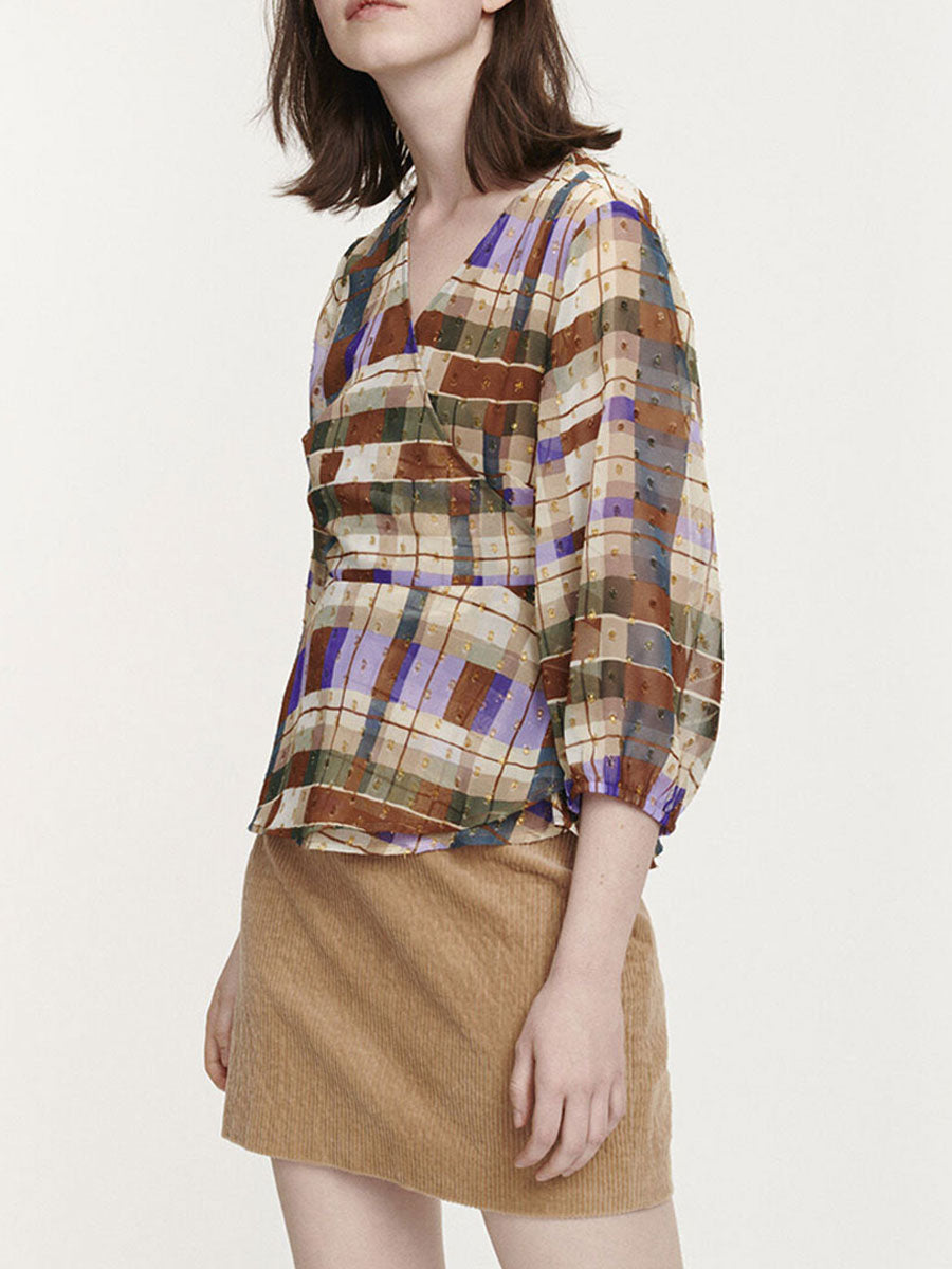 VENETA WRAP BLOUSE - PATCHWORK CHECK