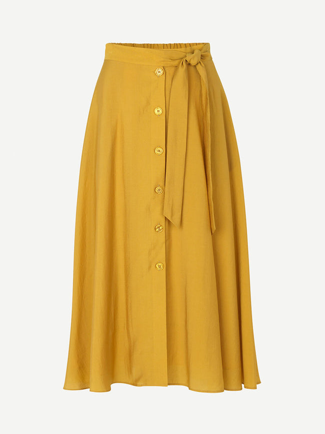 ENA P BUTTON DOWN SKIRT - HONEY