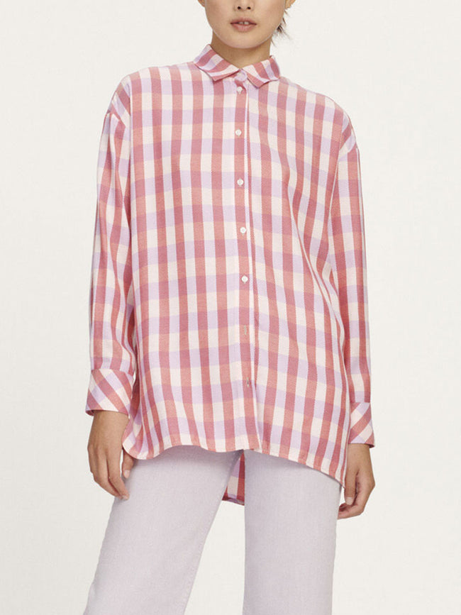 LORETA CHECK SHIRT - HEATHER ROSE