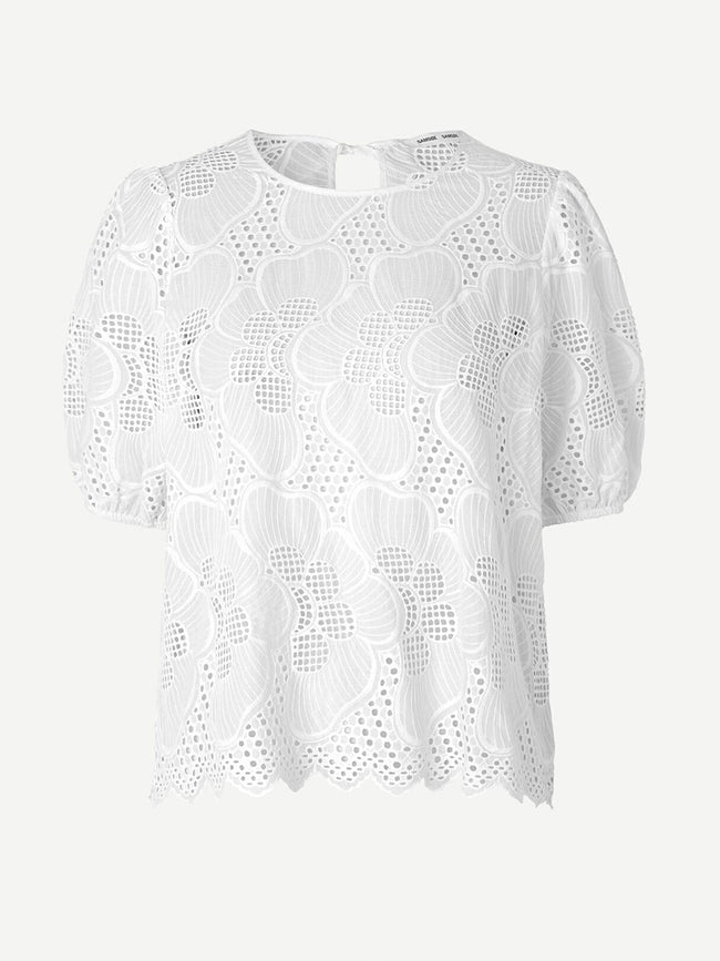 JUNI CUTWORK BLOUSE - BRIGHT WHITE