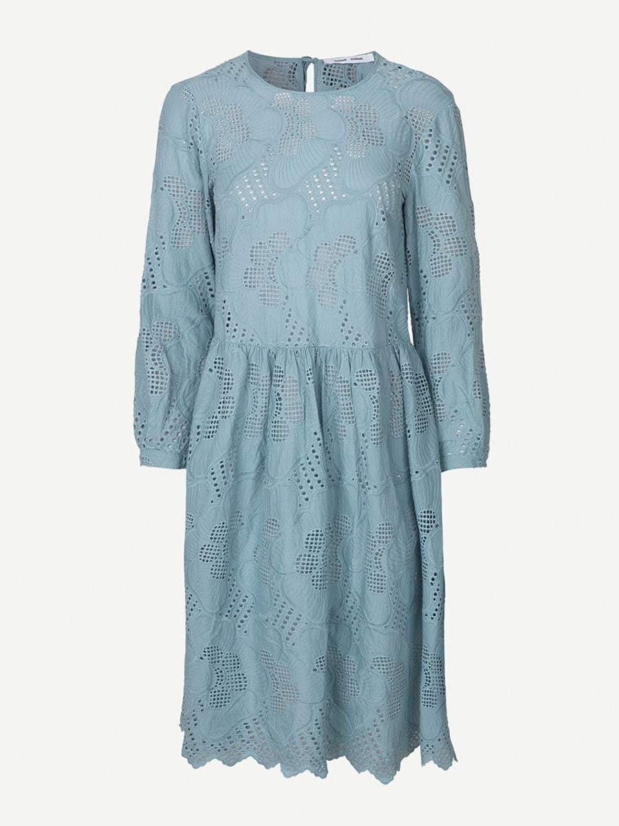 JUNIA LONG SLEEVE CUTWORK DRESS - TOURMALINE