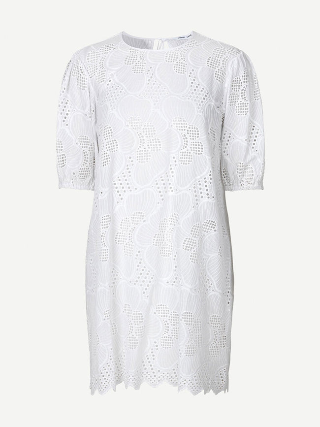 JUNI SHORT SLEEVE CUTWORK DRESS - BRIGHT WHITE