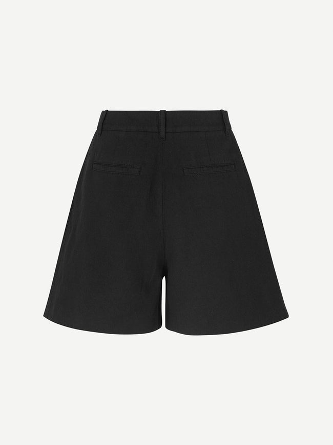 MAUD COTTON LINEN SHORTS - BLACK