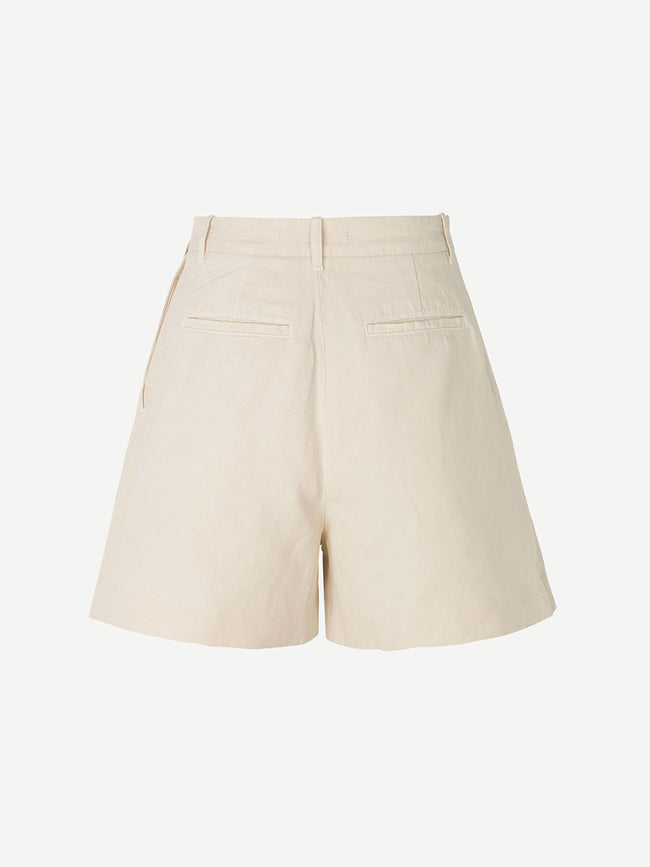 MAUD COTTON LINEN SHORTS - WARM WHITE