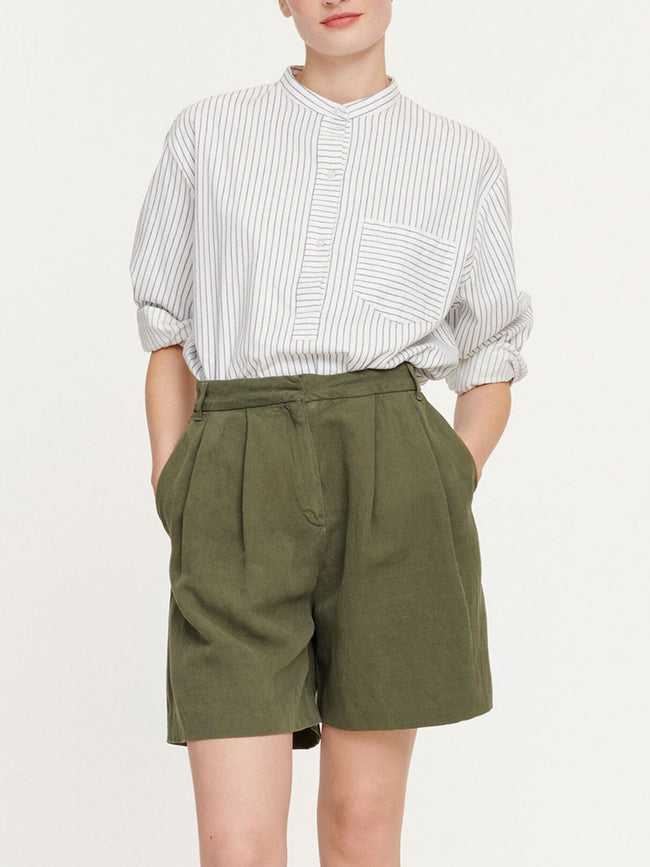 MAUD COTTON LINEN SHORTS - AIR KHAKI