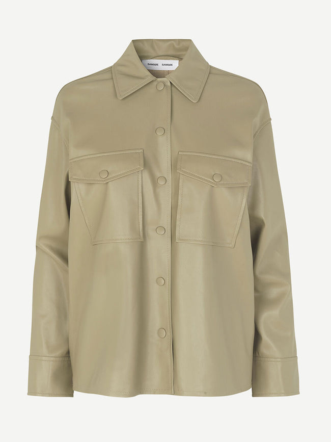 SHEREEN FAUX LEATHER OVERSHIRT - OLIVE GREY