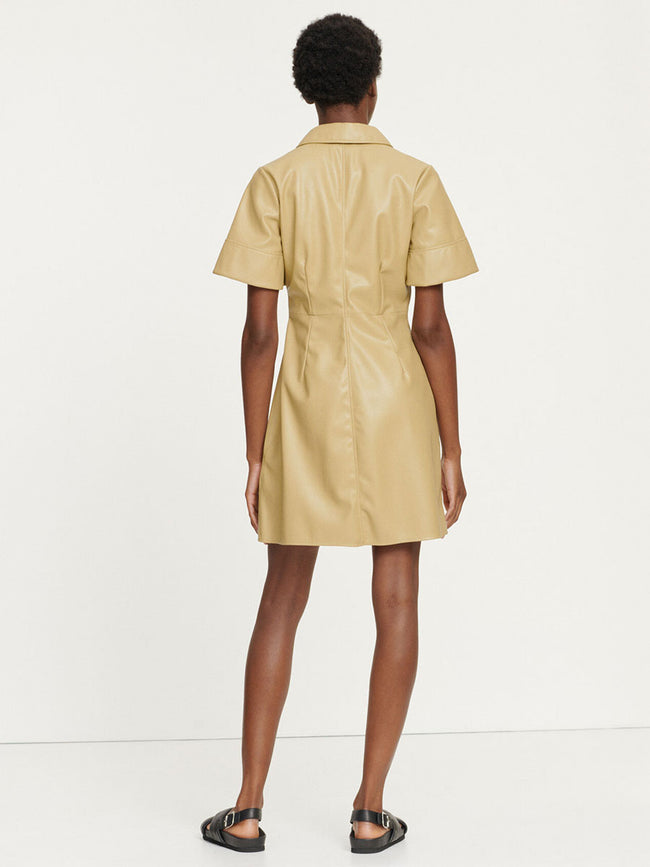 SHEREEN FAUX LEATHER SHIRT DRESS - OLIVE GREY
