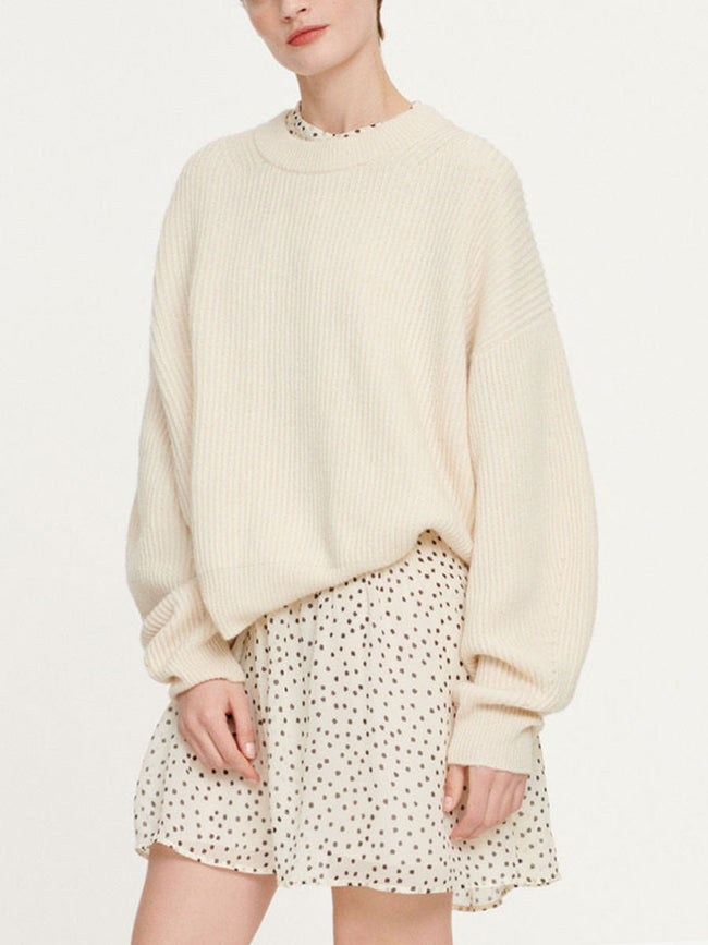 SANDRA CREW NECK JUMPER - WARM WHITE