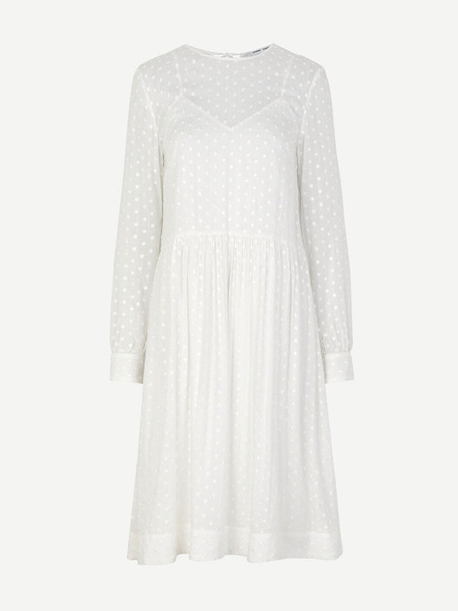 JULIA TEXTURED MIDI DRESS - BLANC DE BLANC