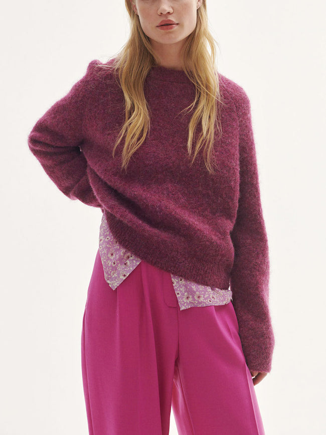 NETA CREW NECK JUMPER - PURPLE JASPER