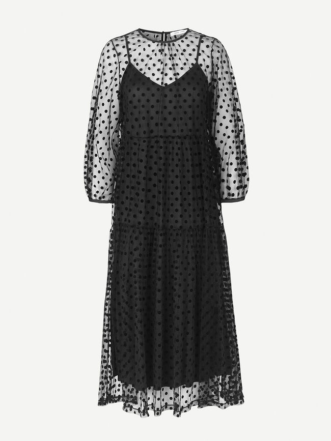 MADIE SHEER MAXI DRESS - BLACK