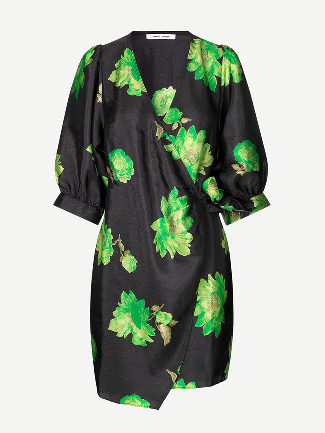 CELESTINA WRAP DRESS AOP - GREEN WATERLILY