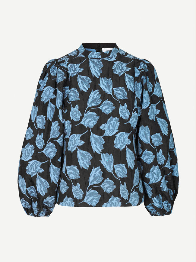 HARRIET JACQUARD BLOUSE - BLUE FLOWER
