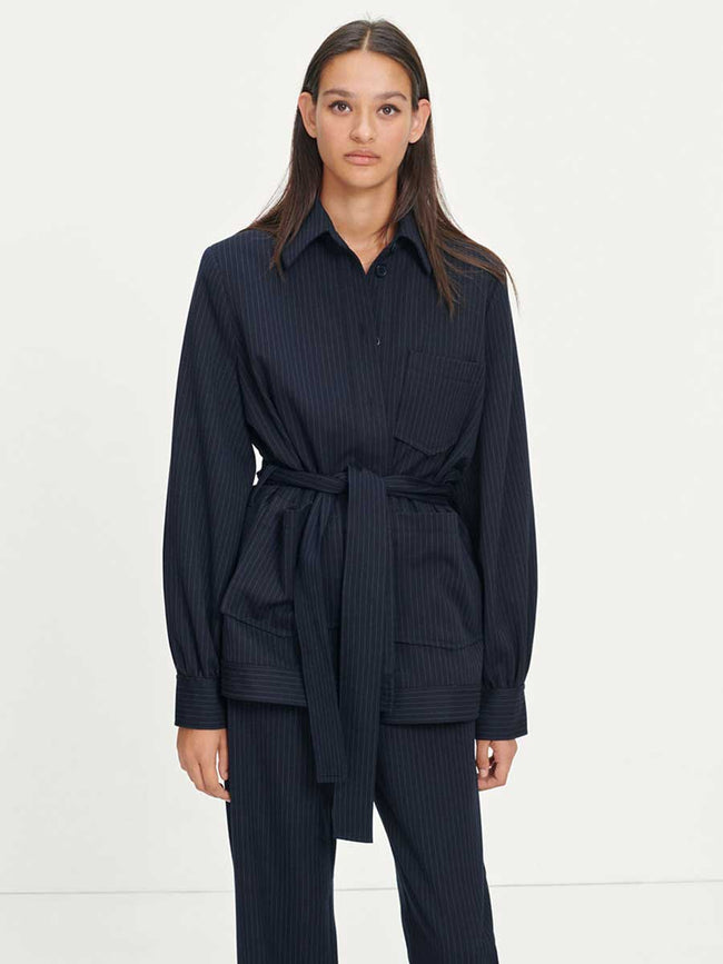 VESTINE PINSTRIPE OVERSHIRT - NIGHT SKY