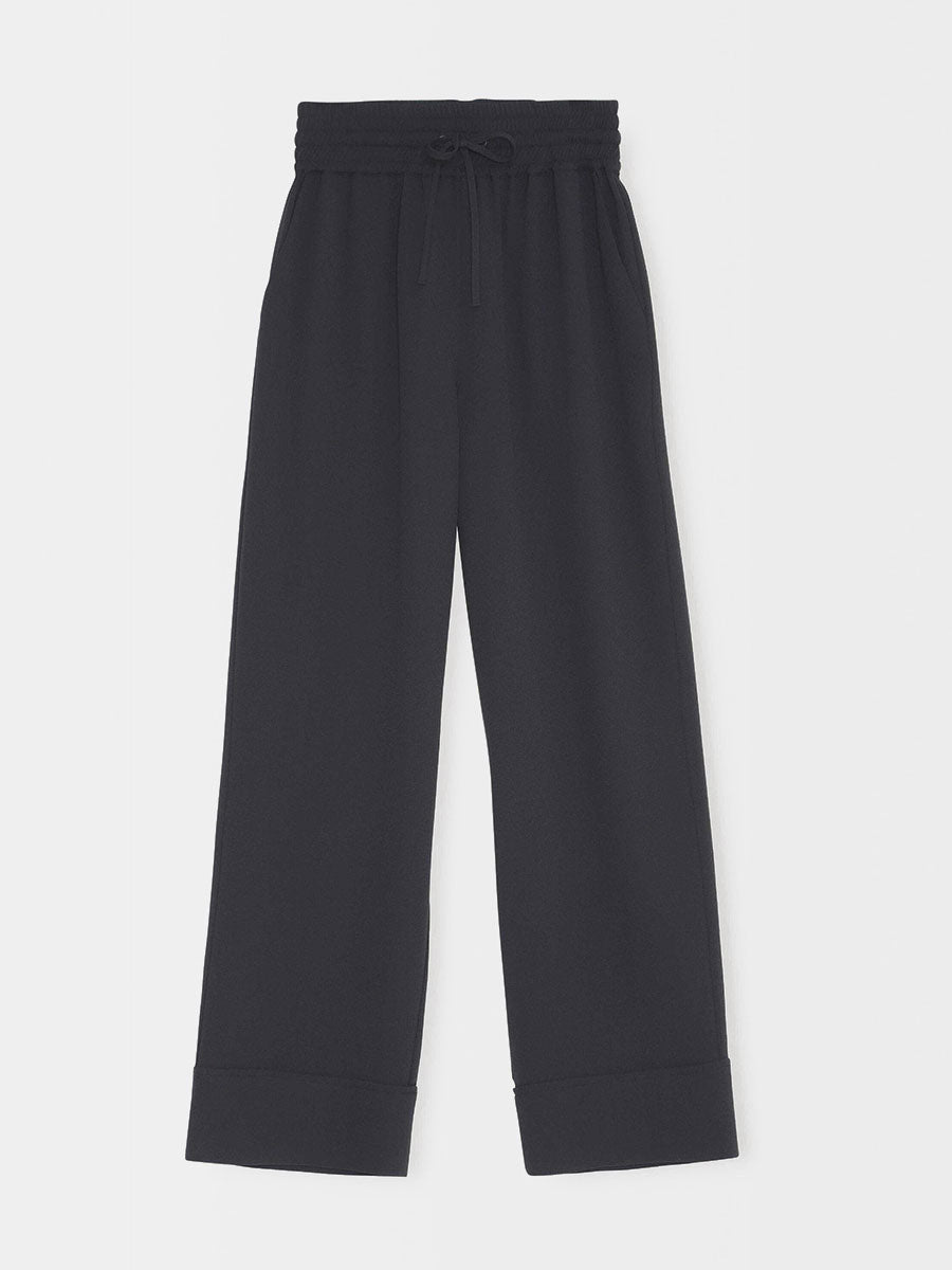 HEAVY CREPE WIDE PANTS - BLACK