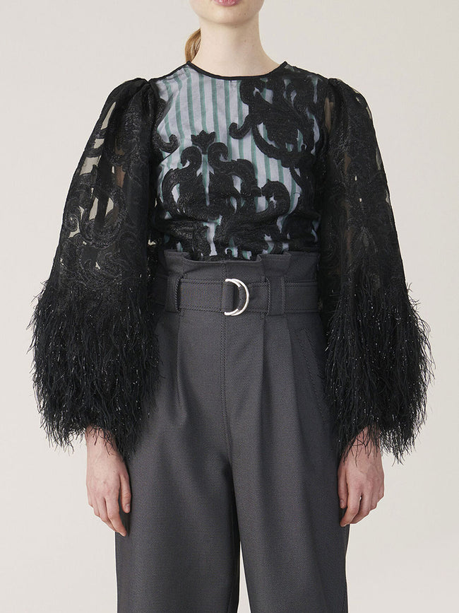 FEATHERY COTTON BLOUSE - BLACK