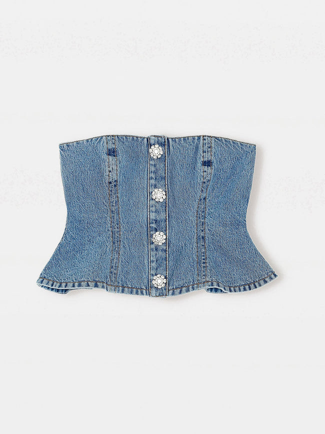 WASHED DENIM TOP - WASHED INDIGO