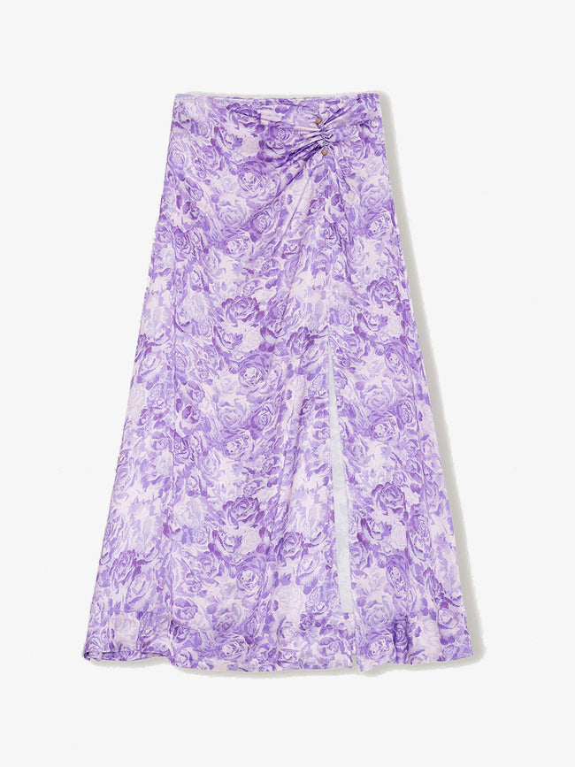 HEAVY SATIN MAXI SKIRT - VIOLET TULIP