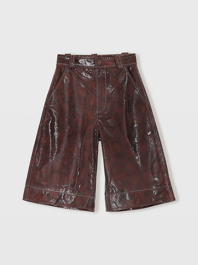 SNAKE FOIL LEATHER SHORTS - DECADENT CHOCOLATE