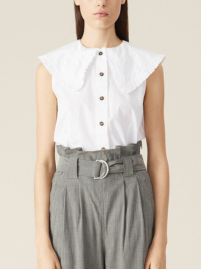 SLEEVELESS COTTON POPLIN SHIRT - BRIGHT WHITE