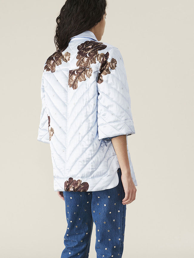 QUILTED HEAVY SATIN JACKET - HEATHER
