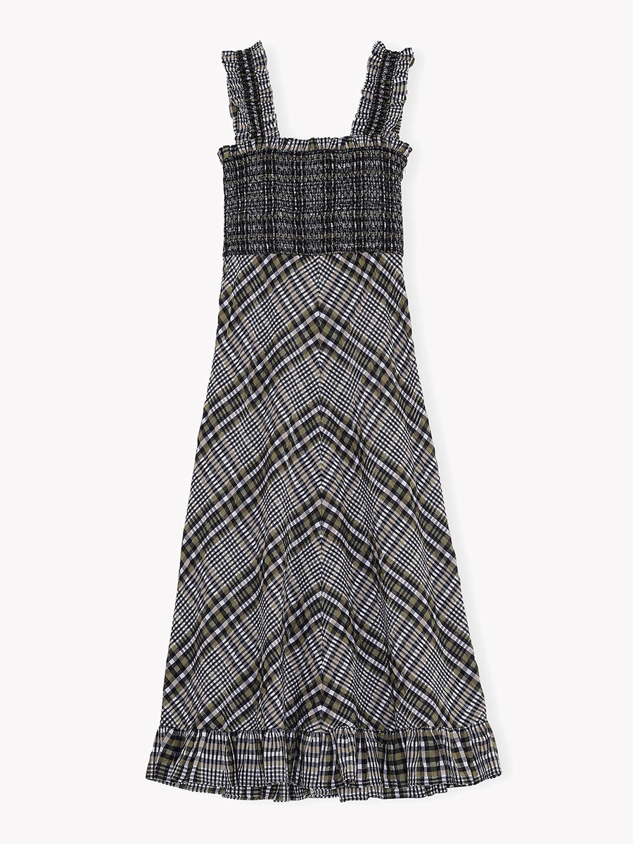 SEERSUCKER CHECK MAXI DRESS - KALAMATA