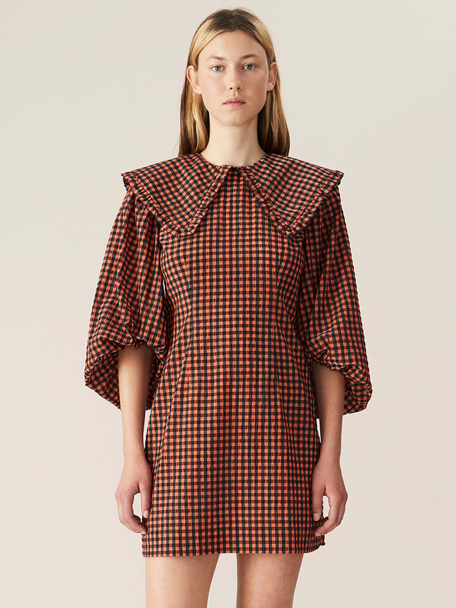 SEERSUCKER CHECK MINI DRESS - FLAME