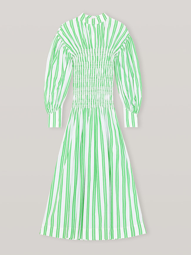 STRIPE COTTON SMOCK DRESS - KELLY GREEN