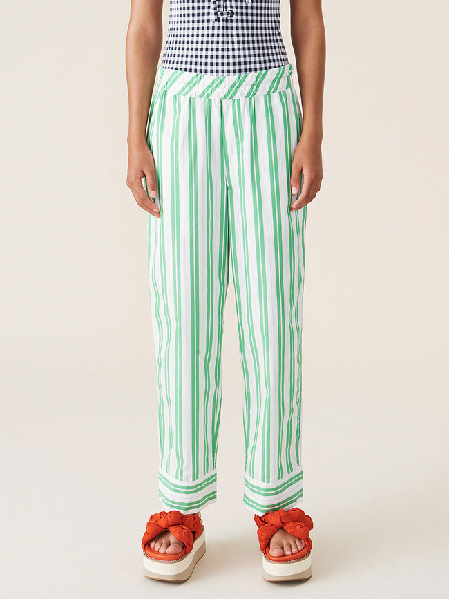 STRIPE COTTON PANTS - KELLY GREEN
