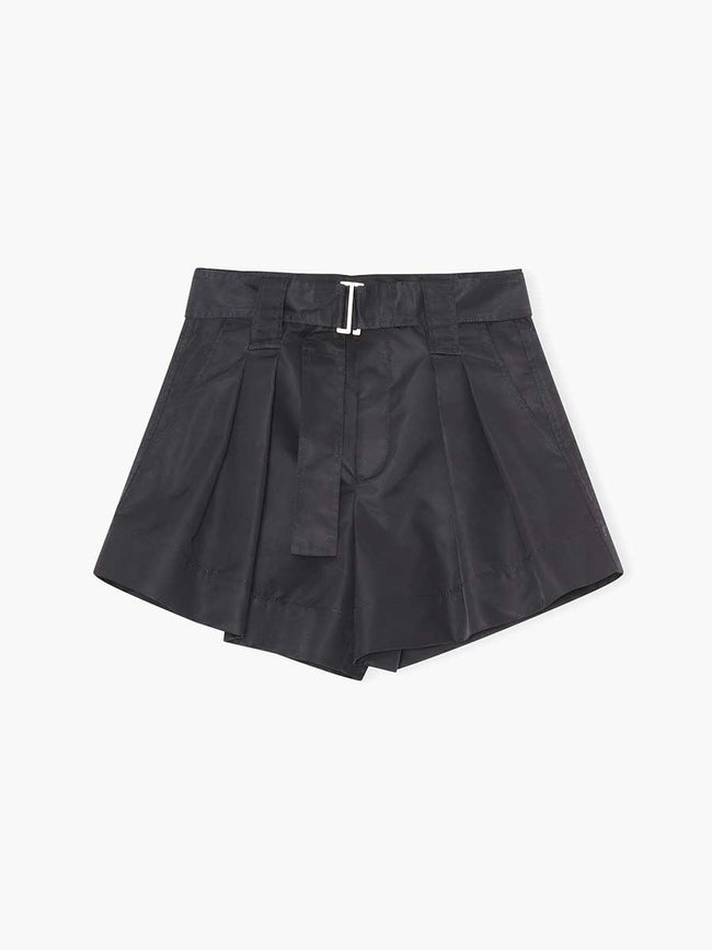 NYLON BELTED SHORTS - BLACK