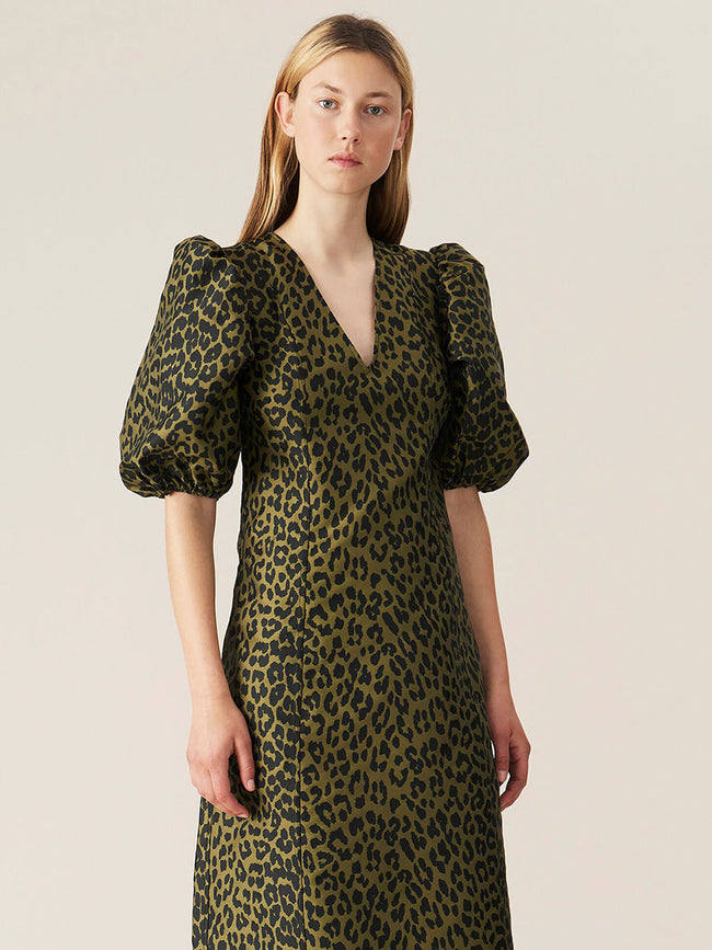 CRISPY JACQUARD DRESS - OLIVE DRAB