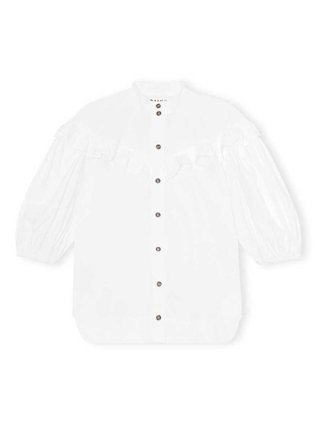 COTTON POPLIN FRILL SHIRT - BRIGHT WHITE
