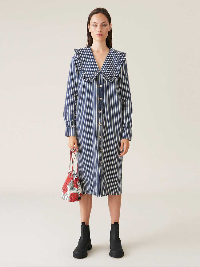 MIXED STRIPE DENIM SHIRT DRESS