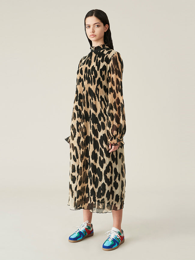 PLEATED GEORGETTE DRESS - MAXI LEOPARD