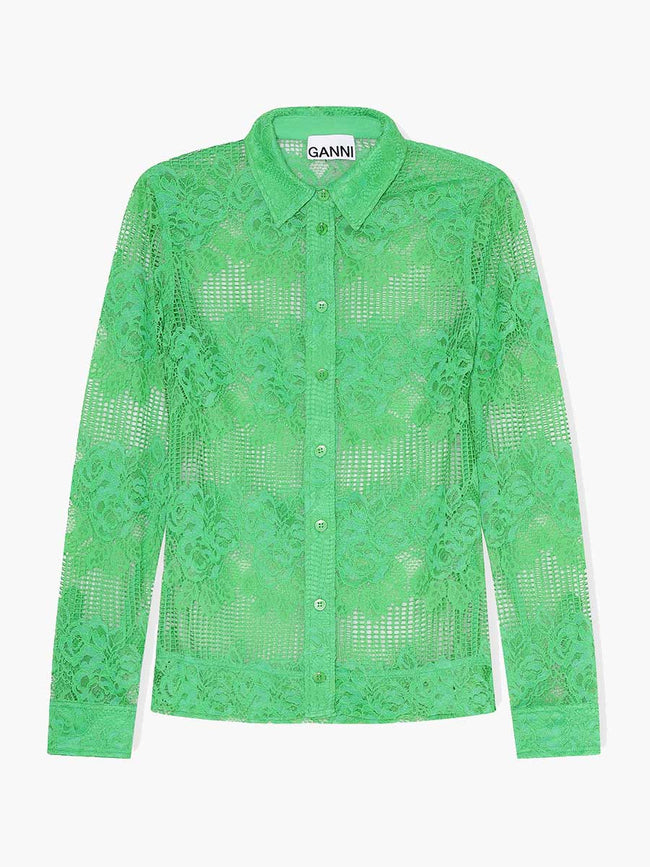 LACE SHIRT - KELLY GREEN