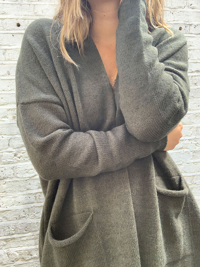 MAINE LONG OPEN CARDIGAN - ARMY GREEN
