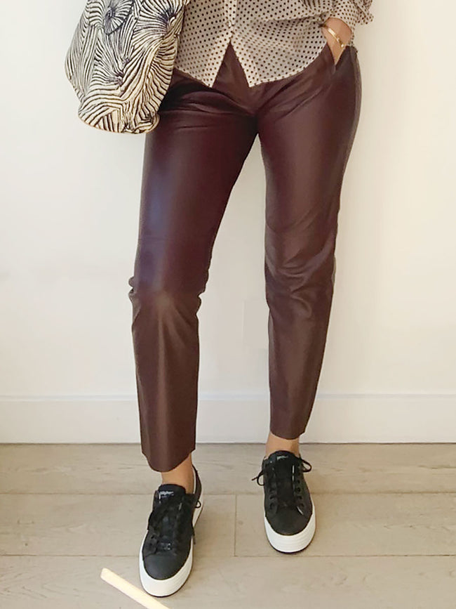 GIFT LEATHER JOGGERS - DARK WINE