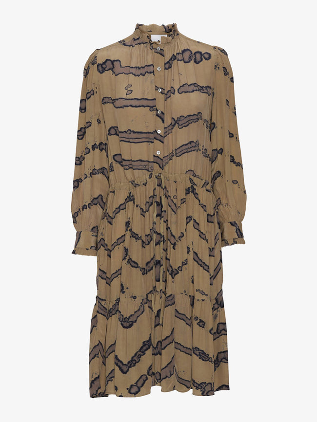 GENE TIE DYE DRESS - CAMEL
