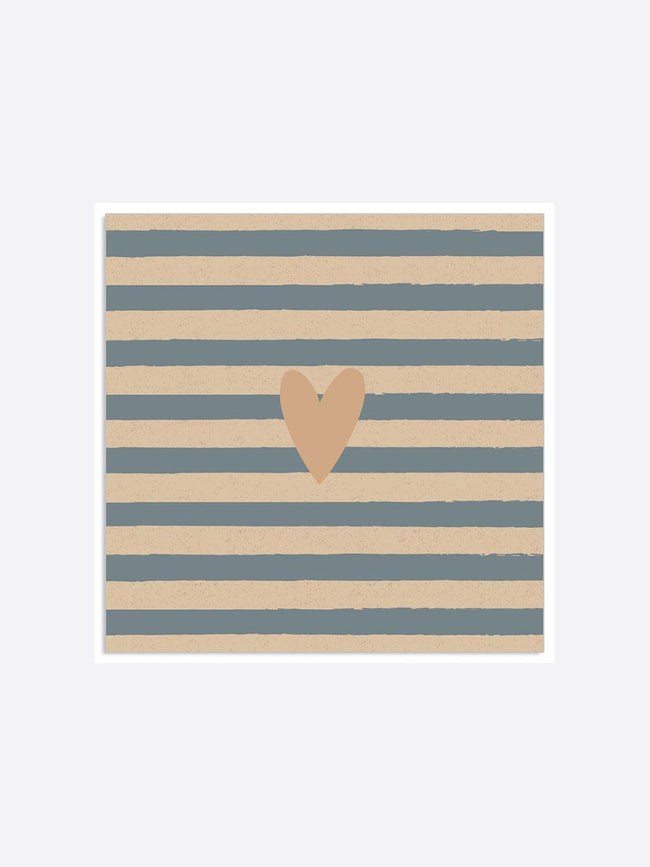 HEART AND STRIPE NAPKINS - GOLD GREY