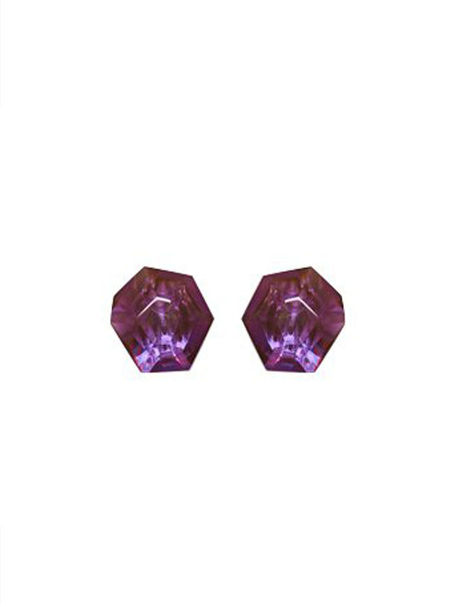HAILEY CLIP ON EARRINGS - PURPLE POLYESTER
