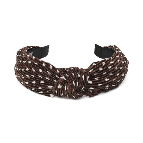 HANNE POLKA DOT HAIRBAND - BROWN