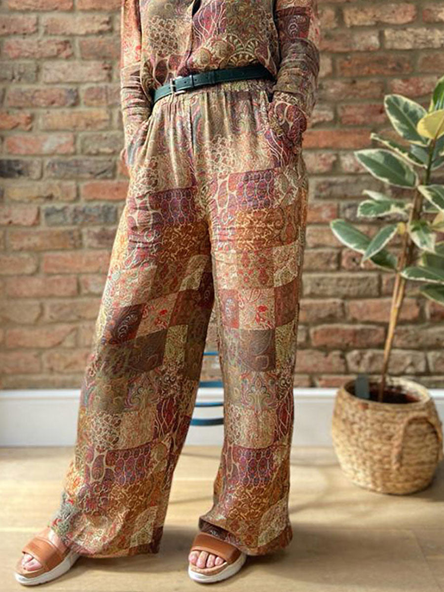 CONISSA PATCHWORK PRINT TROUSERS - CREME